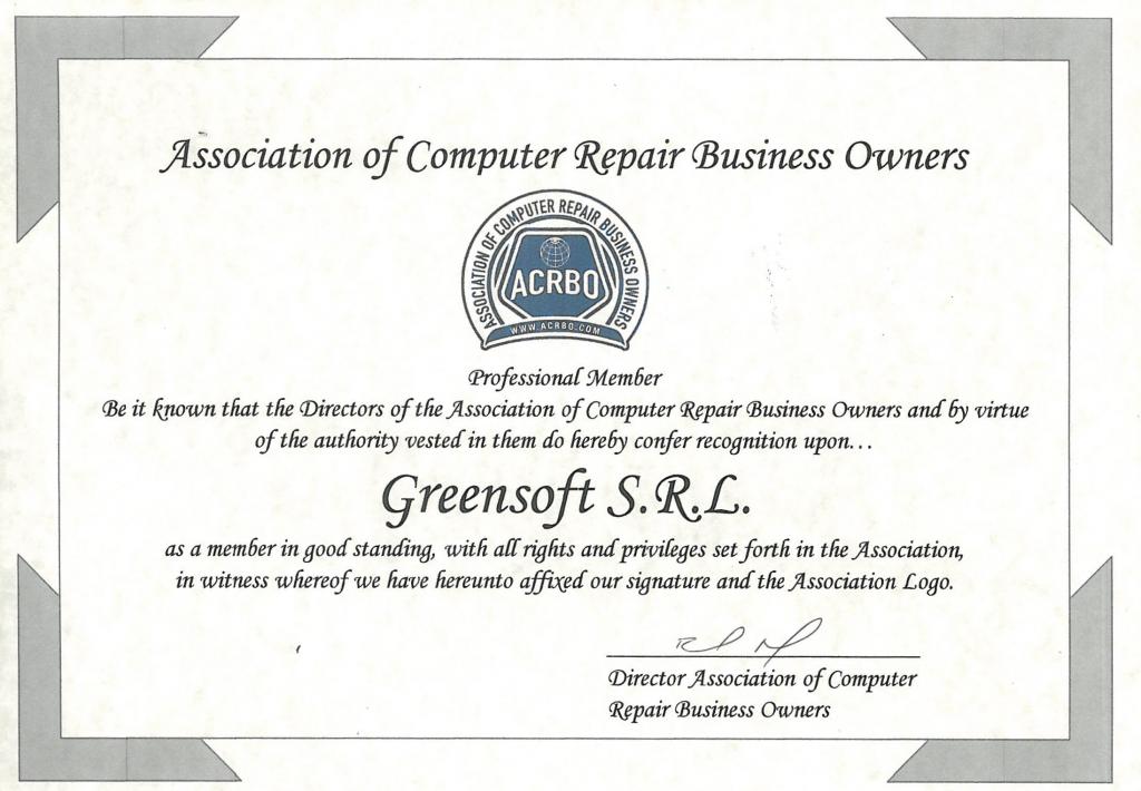 """Membru al """"Association of Computer Repair Business Owners"""""""