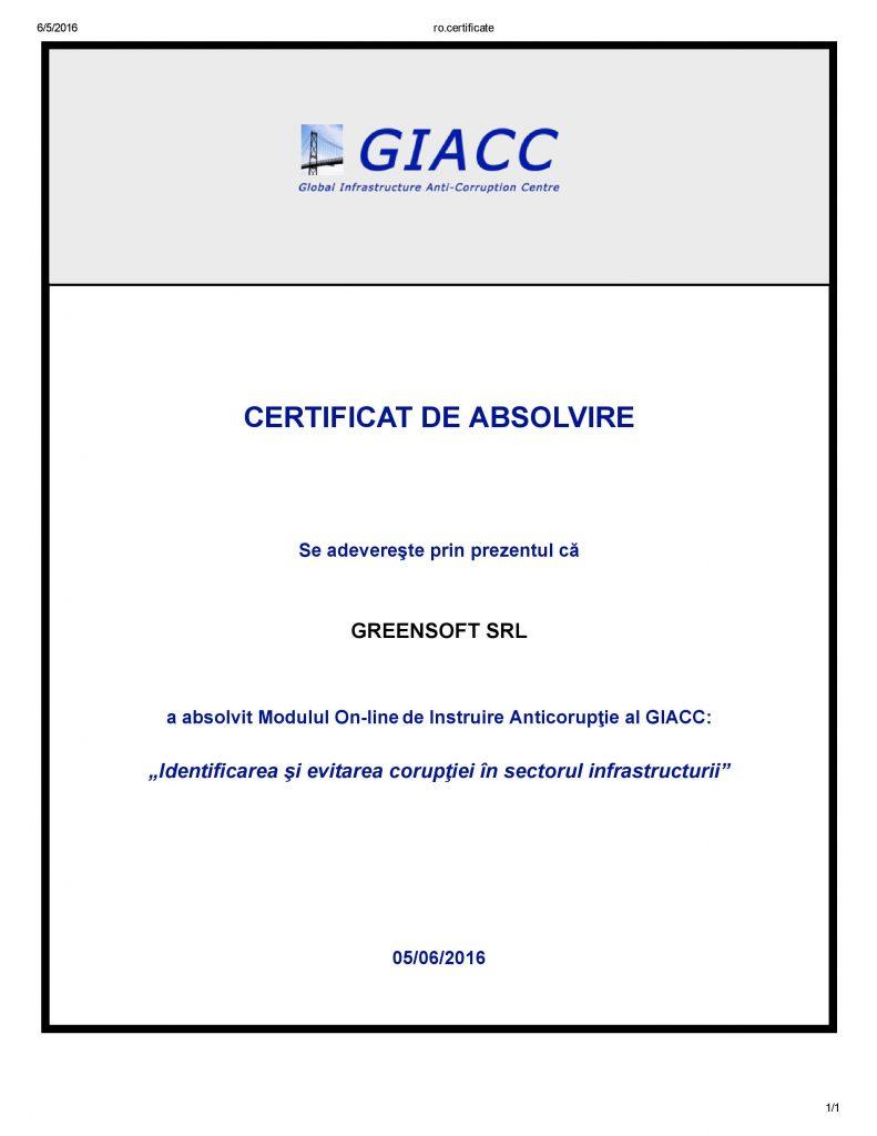 Certificat de Absolvire Modulul de Instruire Anticorupţie al GIACC