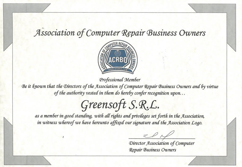 "Membru al ""Association of Computer Repair Business Owners"""