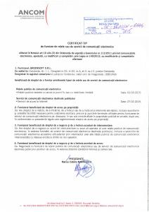 Certificat ANCOM de furnizor de retele sau de servicii de comunicatii electronice