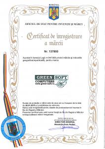 Certificat de inregistrare a marcii nr.137800