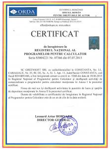 Certificat ORDA de inregistrare in Registrul National al Programelor pentru Calculator